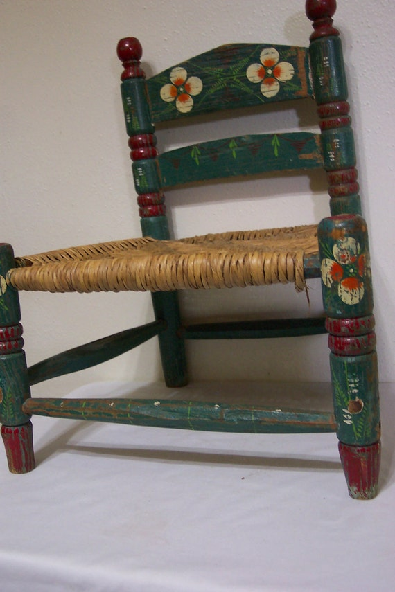 Wood Child S Chair Wicker Seat 1960s Turquoise Pinted