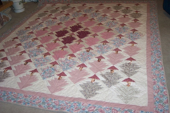 Vintage Quilt  Handmade 92 by 107