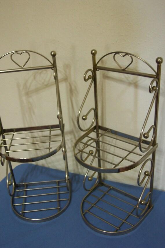 Shelves Set of 2 Brass Colored Metal Shelves