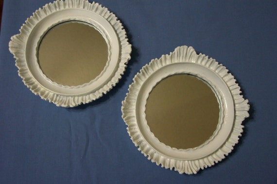 Set of 2 Mirrors Round Upcycled Vintage Inspired