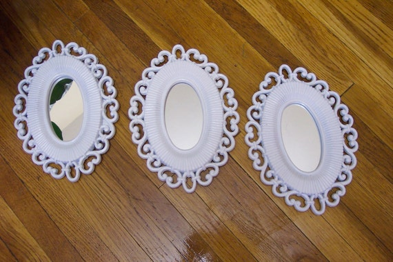 Mirrors  Set of Three White Oval Wall Grouping Vintage Inspired