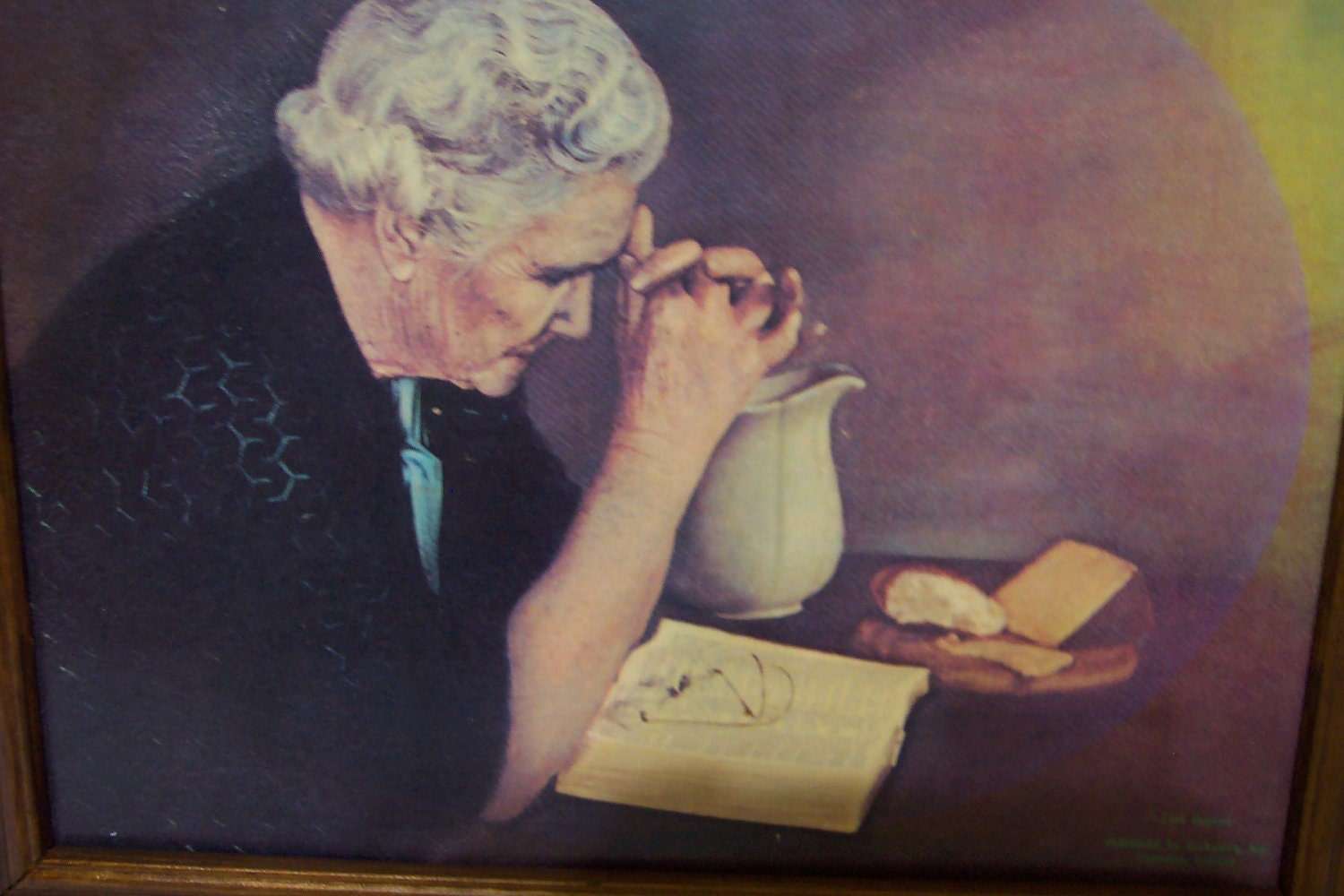 Gratitude Picture Old Woman Praying over Bread on by LuRuUniques