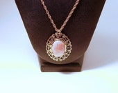 Classic Pendant Necklace with Pink Gemstone Rhodonite