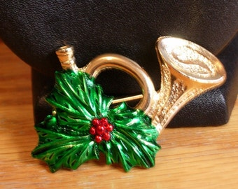French Horn Christmas Pin Signed Gerrys-SALE