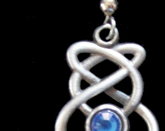 ER-15B Celtic Knot with Blue Crystal Earring
