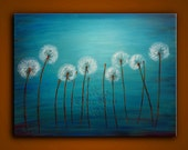 Original Oil Painting- Contemporary Abstract Modern Fine Art Landscape Floral Painting. DANCING DANDELIONS- Free Shipping inside US.