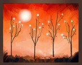 Abstract Lanscape Art Print- Mid autumn night's dream. Free shipping inside US.