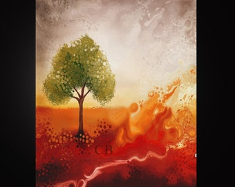 Waves of joy- Abstract Landscape Art Print- Free Shipping inside US.