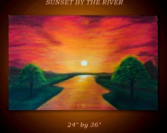 Original Landscape Painting.  Fine Art Landscape Painting - SUNSET by THE RIVER- 36 inches.