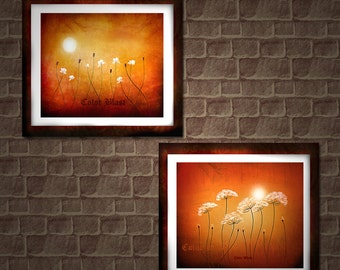Moon Dancers. Abstract Landscape Floral Art Prints. Set of two 11 inches  by 14 inches  Prints. Free Shipping inside US.