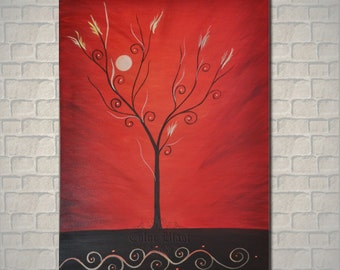 """Original Oil Painting. Abstract RED painting. Landscape Contemporary Art. RED WORLD  36"""" by 24"""" ."""