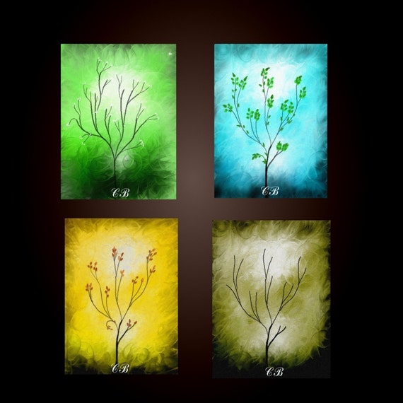 FOUR SEASONS. Abstract Landscape Art Mini Prints . Set of Four Prints. Free Shipping inside US.