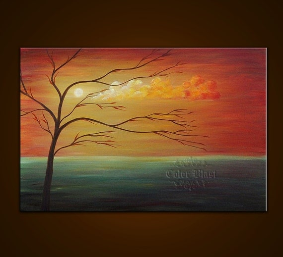 Original Oil Painting- Contemporary Abstract Modern Fine Art Landscape Painting - SERENE SUNSET- 36 inches. Free Shipping