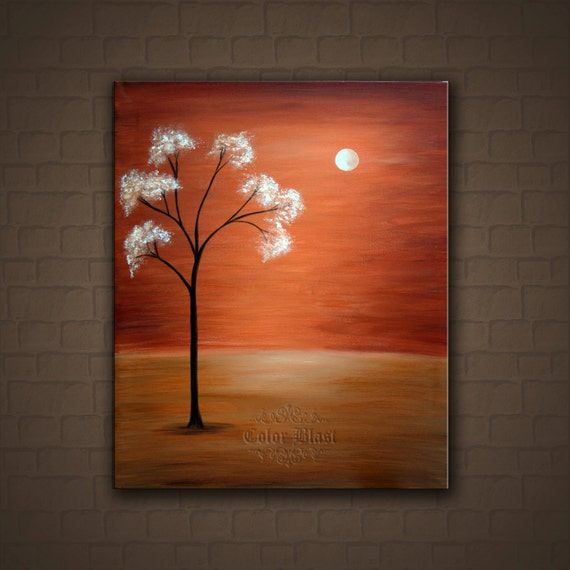 "Original Painting- Neutral wall decor. Contemporary Abstract Modern Fine Art Landscape  Painting  ""Blooming tree""."