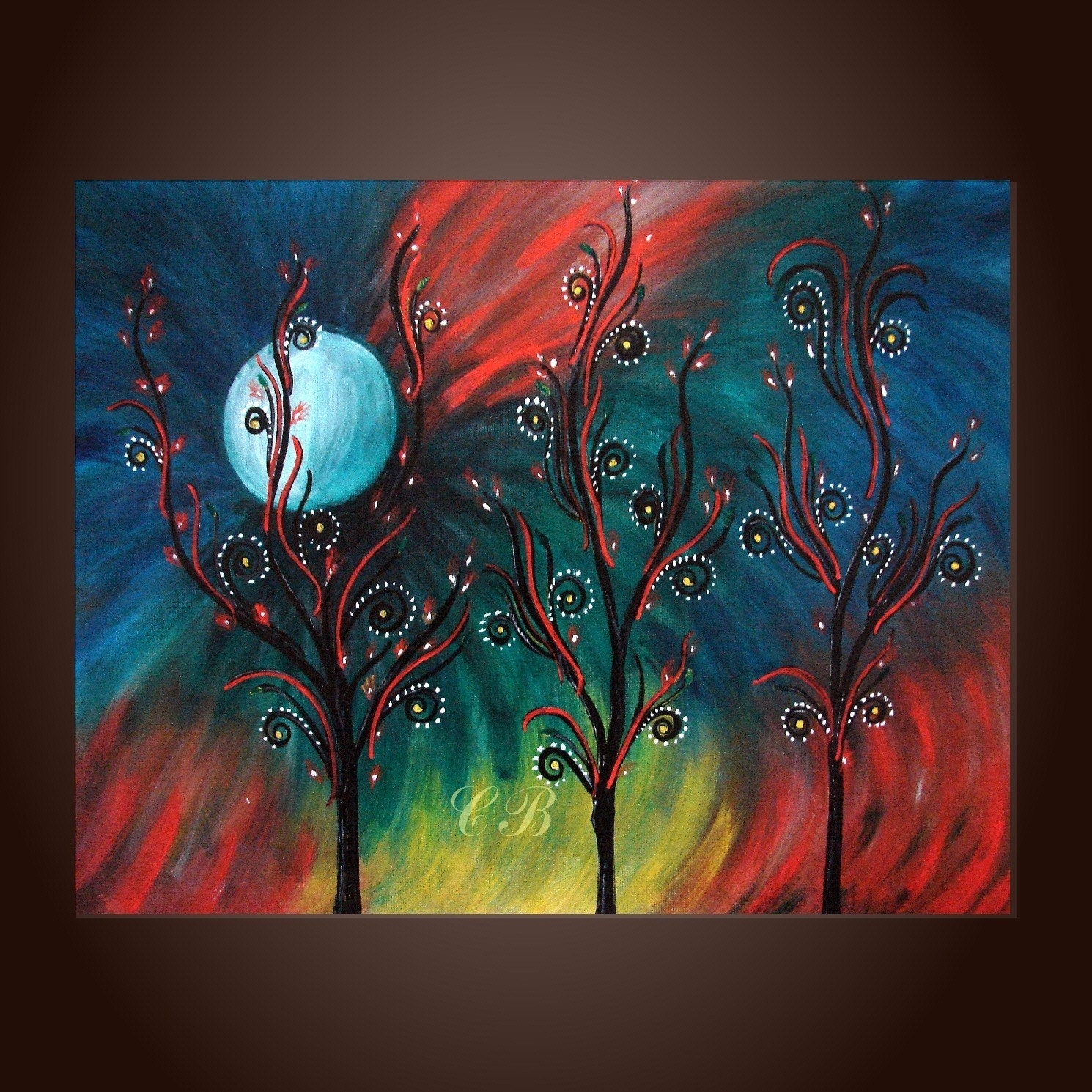 Peacock inspiration abstract landscape painting print free for Inspirational paintings abstract