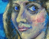 """ACEO - collectible original painting - """"Frontier Girl"""""""