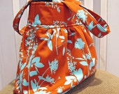 Gathered Fabric Bag in Joel Dewberry Tangerine Wildflowers, Orange and Aqua
