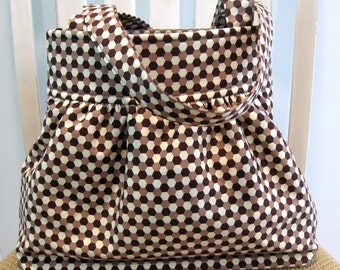 Brown and Cream Geometric Print Gathered Bag in Joel Dewberry Ginseng Geo