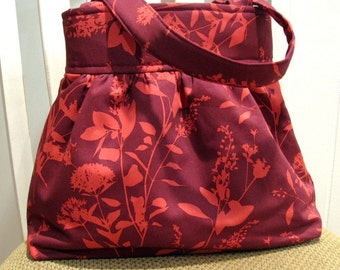 Handcrafted Gathered Fabric Bag in Joel Dewberry's Wildflowers in Fushia and Mulberry