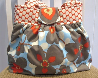 Handmade Gathered Fabric  Bag, Purse, in Amy Butler Lotus Dot Cherry and  Morning Glory, Red, Blue, White and Gray