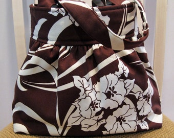Gathered Fabric Bag in Amy Butler August Fields, Chocolate Brown and Ivory