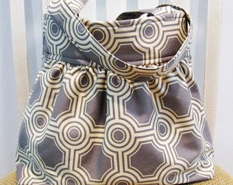 Handmade Gathered Fabric Bag in Joel Dewberry Tiles in Stone, Gray and Cream