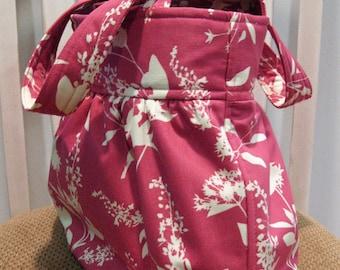Handmade Gathered Fabric Bag in Joel Dewberry Ginseng Wildflowers in Pink