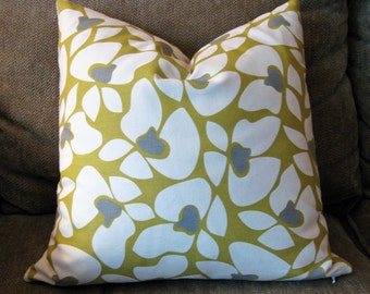 "Decorative Pillow Cover, 18"" x 18"", Yellow, Gray and Natural"