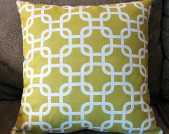 "Decorative Pillow Cover, 18"" x 18"", Citrine Yellow (Light Olive) and Natural"