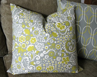 "Decorative Pillow Cover, 18"" x 18"", Citrine Yellow, Gray and While"