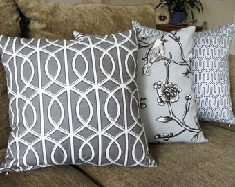 "Decorative Pillow Cover, Set of Three 18"" x 18"",  in Gray, Taupe and White, Dwell Studio, Robert Allen"