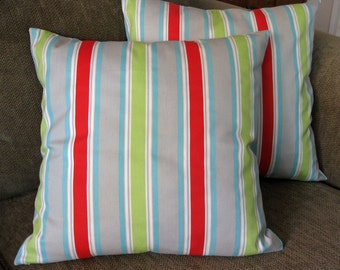 "Decorative Pillow Covers, Set of TWO 18"" x 18"",  Red,Aqua,Lime,Gray and White Stripe"
