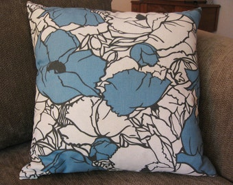"Decorative Pillow Cover, 18"" x 18"", Blue, Charcoal and Cream Floral Print"