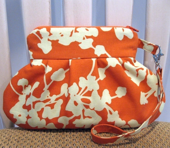 Lined Wristlet in Amy Butler's Lotus Coriander Clay With Detachable Wrist Strap