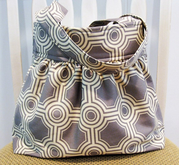 Handmade Gathered Fabric Bag in Gray and Cream Tiles