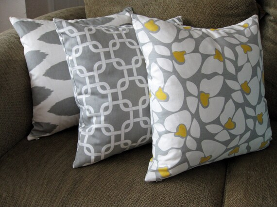 "Decorative Pillow Covers, Set of Three 18"" x 18"",  Storm Gray, White & Corn Yellow"