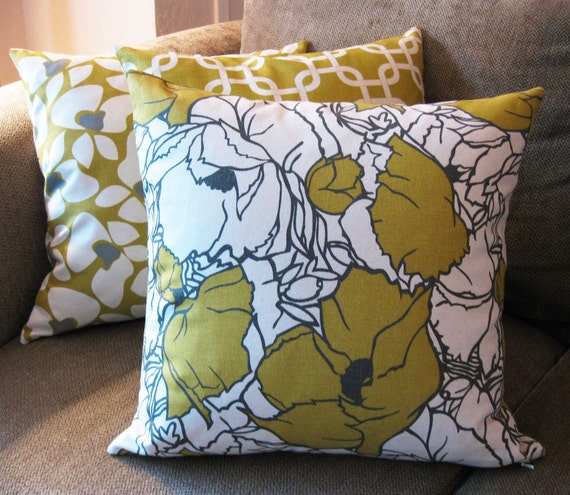 "RESERVED for JADE-Decorative Pillow Covers, Set of Three 18"" x 18"", Citrine Yellow, Gray and Natural"