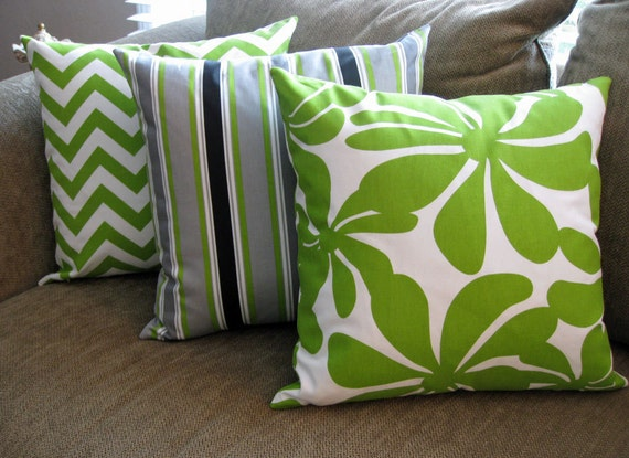 "Decorative Pillow Covers, Set of Three 18"" x 18"",  Lime Green, Gray, black and White"