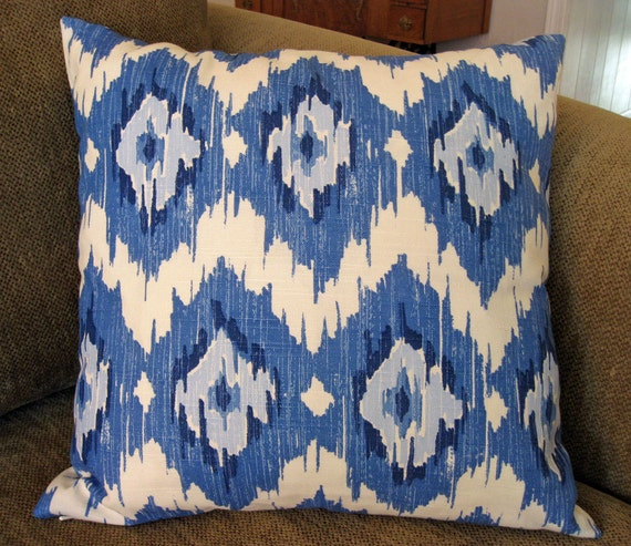 "Decorative Pillow Cover, 18"" x 18"",  in Shades of Blue and White Ikat"
