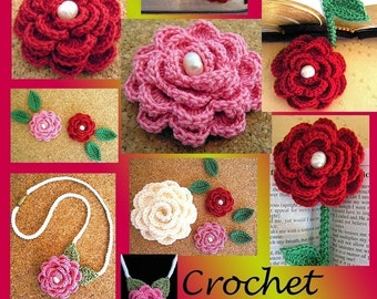 Crochet Rose/ Bookmark/ Necklace/ Applique/ Crochet Cord Pattern PDF