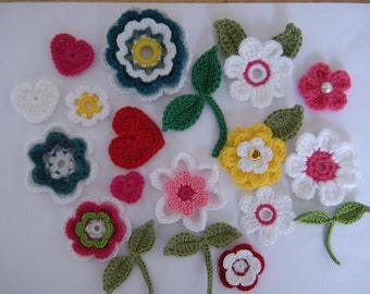 Crochet Flower Applique Patterns 10 Flowers 2 leaves 1 heart