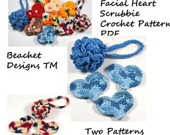 Bath Pouf and Heart Facial Scrubbie Crochet Pattern PDF
