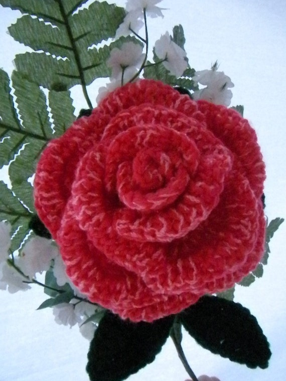 Large Crochet Rose Pattern Free : Crochet Bouquet Rose Pattern PDF