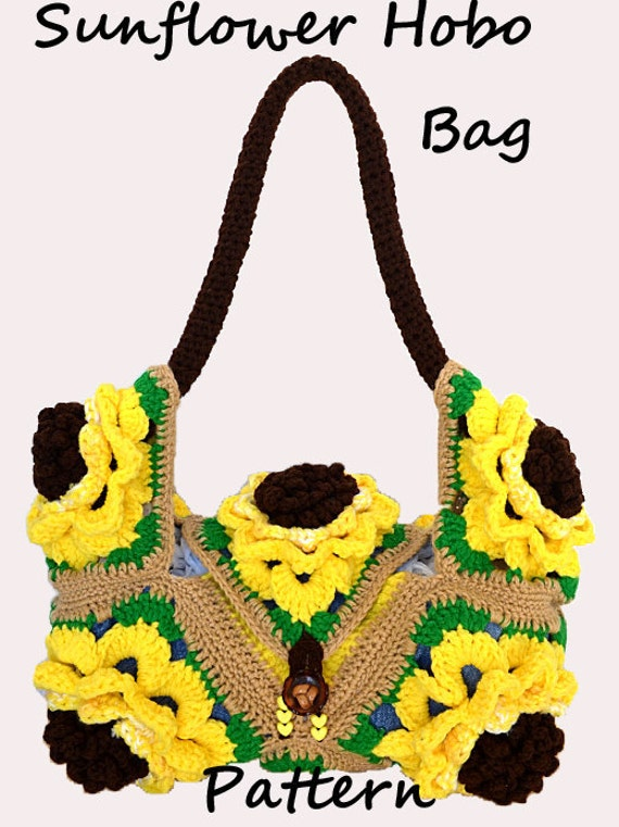 Crochet Hobo Bag Pattern : Crochet Sunflower Hobo Bag Pattern PDF by BeachetDesignsTM on Etsy