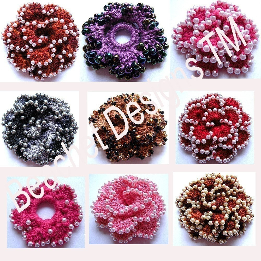 Crochet Patterns With Beads : Crochet Flower Pattern Beaded Crochet Flower by BeachetDesignsTM
