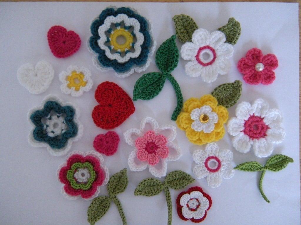 Crochet Flower Applique Patterns 10 Flowers 2 by BeachetDesignsTM