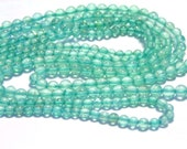 LAST ONE  Apatite aqua color round gemstone beads very tiny WHOLE strand