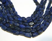 Lapis notched rectangle beads WHOLE STRAND