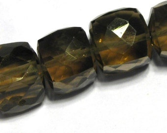 Smoky quartz gemstone faceted cubes 4 beads