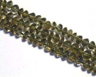 Smoky quartz gemstone button rondell beads WHOLE STRAND